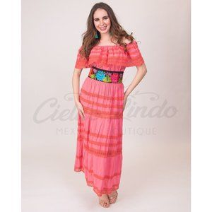 Mexican Dress Coral Lace Off the Shoulders Maxi
